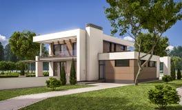 перевод 3D современного дома Стоковые Изображения