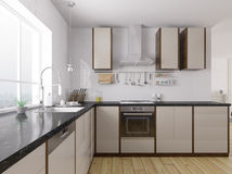 Перевод 3d современной кухни внутренний Стоковое Изображение