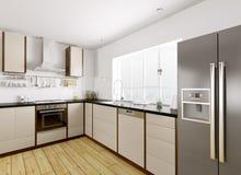 Перевод 3d современной кухни внутренний Стоковое фото RF