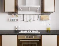 Перевод 3d современной кухни внутренний Стоковые Изображения