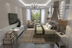Перевод 3D спальни внутренний Стоковые Изображения