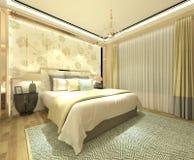 Перевод 3D спальни внутренний Стоковое Изображение