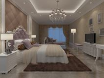 Перевод 3D спальни внутренний Стоковое Фото