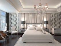 Перевод 3D спальни внутренний Стоковая Фотография