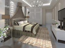 Перевод 3D спальни внутренний Стоковые Фото