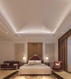 Перевод 3D спальни внутренний Стоковая Фотография RF