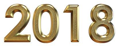 перевод 3d Счастливый Новый Год 2018 Золотые числа Стоковые Изображения RF