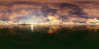 перевод 3d темного неба с горизонтом города небоскребов стоковое изображение