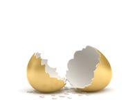 перевод 3d треснутого золотого яичка при свои 2 части лежа около одина другого на белой предпосылке Стоковые Фотографии RF