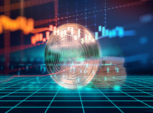 перевод 3d Bitcoin на предпосылке технологии Стоковое Фото