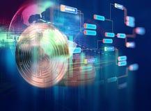 перевод 3d Bitcoin на предпосылке технологии Стоковые Фото