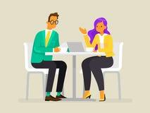 Переговор бизнесменов Человек и женщина обсуждают проект также вектор иллюстрации притяжки corel иллюстрация вектора