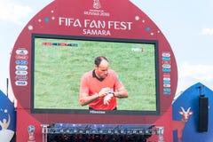 Передача спички Дани-Австралии на экране в зоне вентилятора кубка мира 2018 Стоковые Фотографии RF