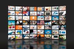 Передача телевидения стены мультимедиа видео- Стоковые Изображения RF