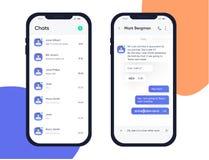 Передвижная идея проекта UI UX Ультрамодное применение Chatbot с окном диалога бормотушк голубой коробки Применение посыльного Sm иллюстрация штока