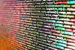 Передвижная принципиальная схема app Творческий набор крупного плана Js HTML5 на предпосылке Концепция алгоритма конспекта источн стоковое фото rf