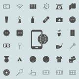 передвижное telophone с значком глобуса Детальный комплект minimalistic значков Наградной качественный знак графического дизайна  иллюстрация штока
