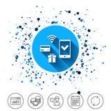 Передвижной значок оплат Smartphone, кредитная карточка Стоковое Изображение