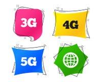 Передвижные значки радиосвязей 3G, 4G и 5G вектор иллюстрация вектора