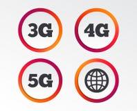 Передвижные значки радиосвязей 3G, 4G и 5G Стоковое Фото