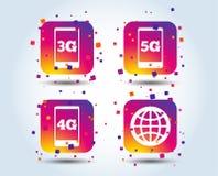 Передвижные значки радиосвязей 3G, 4G и 5G иллюстрация вектора