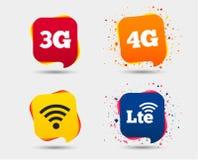Передвижные значки радиосвязей 3G, 4G и LTE Стоковая Фотография RF