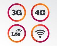 Передвижные значки радиосвязей 3G, 4G и LTE иллюстрация штока