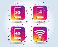 Передвижные значки радиосвязей 3G, 4G и LTE бесплатная иллюстрация