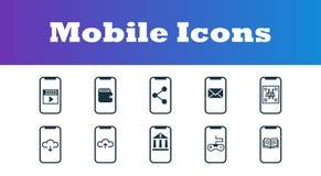 Передвижные установленные значки UI и UX Наградное качественное собрание символа Мобильные значки установили простые элементы для бесплатная иллюстрация