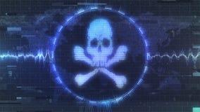 Передернутое grungy предупреждение нападения хакера иллюстрация штока