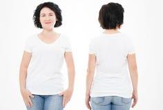 Передние и задние взгляды женщины среднего возраста в футболке на белой предпосылке Коллаж или комплект Насмешка вверх для дизайн стоковая фотография rf