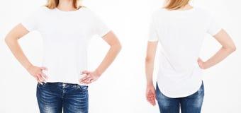 Передние и задние взгляды набора, женщины коллажа в футболке изолированной на белой предпосылке стоковые фото