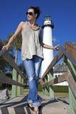 передние simons святой маяка туристские стоковое изображение