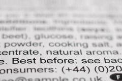 Перед извещения самое лучшее/срок годности при хранении/информация о продукте стоковое фото