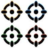 Перекрестие/метка/перекрещение цели значки в цвете 4 иллюстрация штока