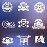 Перекрестная белизна логотипа фитнеса и СПОРТЗАЛА иллюстрация штока