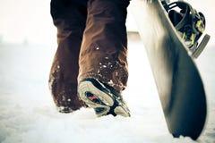перекрестное влияние обрабатывая snowboarder Стоковые Фото