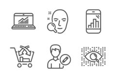 Перекрестное надувательство, онлайн статистика и редактировать набор значков человека r иллюстрация вектора