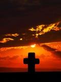 перекрестный драматический заход солнца Стоковое фото RF