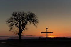 перекрестный заход солнца Стоковые Изображения RF