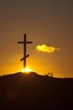 перекрестный заход солнца Стоковая Фотография