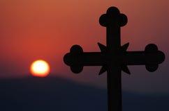 перекрестный заход солнца Стоковые Изображения