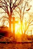 перекрестный заход солнца Стоковое Изображение