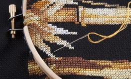 перекрестный стежок вышивки Стоковые Фото