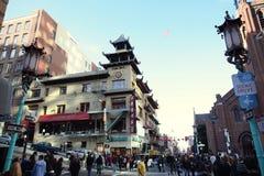 Перекресток в городке Китая в Сан-Франциско Стоковое фото RF