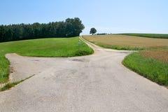 Перекресток в полях Стоковое Фото