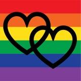 Перекрывая сердца на флаге радуги Стоковые Фото