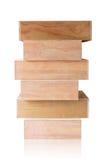 Перекрытие деревянных коробок на белой предпосылке Стоковые Фото