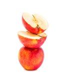 Перекрытие Яблока красное изолированное на белой предпосылке Стоковое фото RF