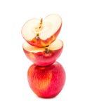 Перекрытие Яблока красное изолированное на белой предпосылке Стоковое Изображение RF
